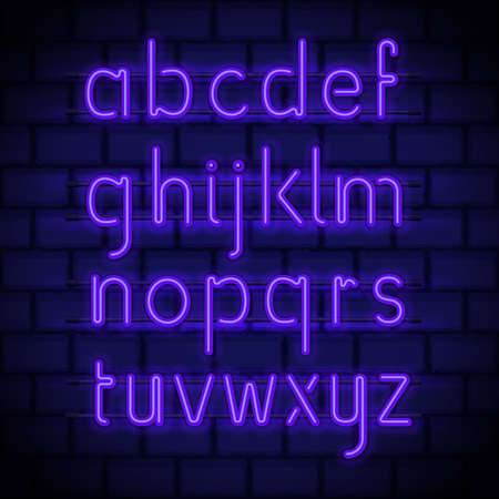Neon style letters, glowing in night latin alphabet on a brick wall. Luminous lowercase font for neon signs and billboards decoration. Vector Çizim