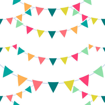 Festive seamless pattern of bunting flags. Vector