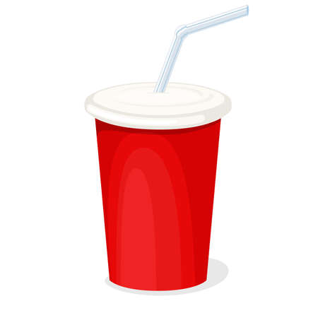 Red cardboard cola cup with a straw isolated on white background. Vector