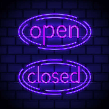 Neon style glowing in night lsigns  on a brick wall. Luminous neon billboards open closed. Vector