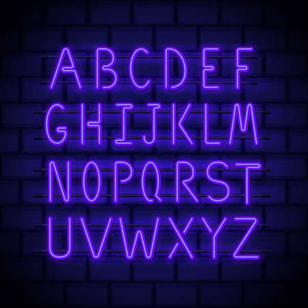 Neon style letters, glowing in night latin alphabet on a brick wall. Luminous uppercase font for neon signs and billboards decoration. Vector