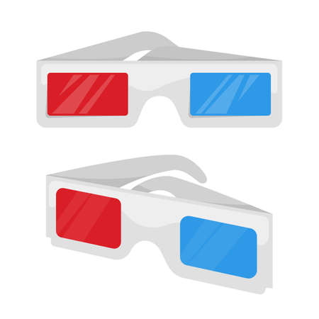 Set of 3D glasses isolated on white background. Vector