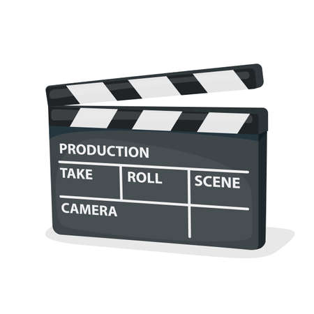 Movie clapper board isolated on white background. Vector Illustration
