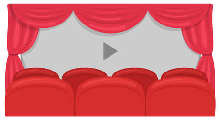Cinema screen, curtains and row of red sits. Vector
