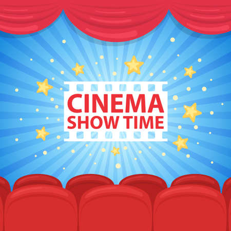 Background with with cinema row of red sits. Vector