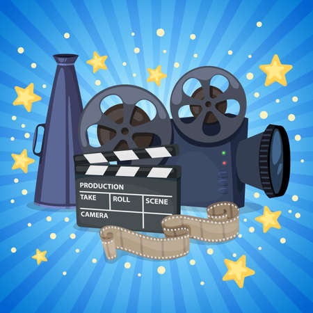 Background with cinema icons - movie projector, clapper board, film reel and megaphone. Vector