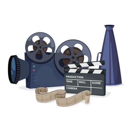Cinema icons set with movie projector, clapper board, film reel and megaphone. Vector