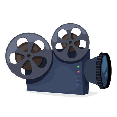 Vintage movie projector, old style film camera. Vector