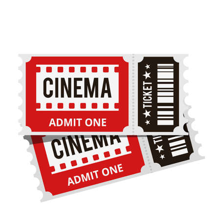 Cinema tickets top view isolated on white background. Vector