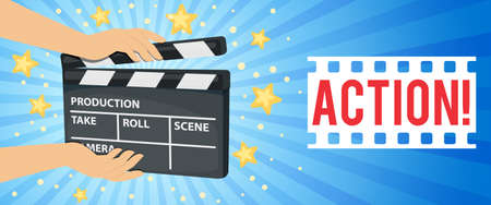 Horizontal banner with hands holding movie clapper board. Vector