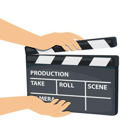 Manos sosteniendo el tablero de azote de película aislado sobre fondo blanco. Vector