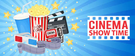 Horizontal banner with cinema icons - clapper board, film reel, popcorn, cola, tickets and 3D glasses. Vector