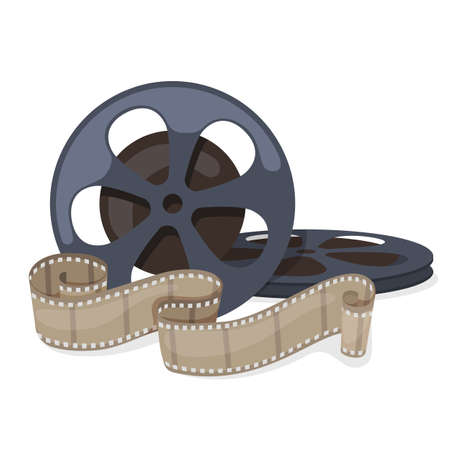 Film reel and twisted cinema tape roll. Vector