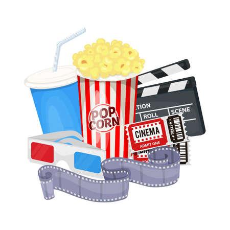 Kinosymbole mit Klappenbrett, Filmrolle, Popcorn, Cola, Tickets und 3D-Brille. Vektor Vektorgrafik