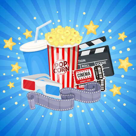 Background with cinema icons - clapper board, film reel, popcorn, cola, tickets and 3D glasses. Vector Çizim