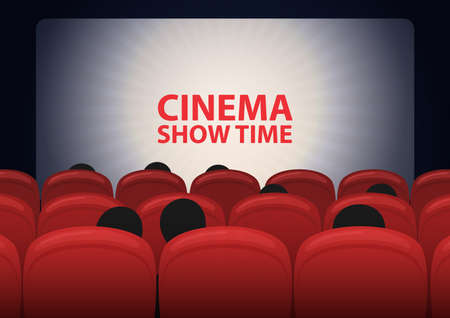 People in cinema hall, cinema screen and row of red sits. Vector