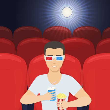Young smiling man in 3d glasses with popcorn and plastic cup watching film in cinema alone. Vector