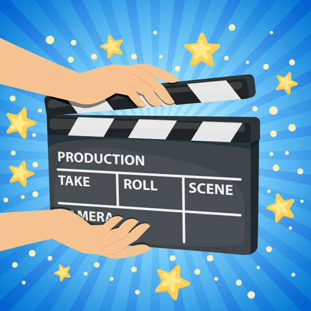 Bright blue background with hands holding movie clapper board. Vector