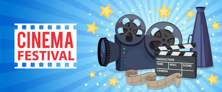 Horizontal banner with cinema icons - movie projector, clapper board, film reel and megaphone. Vector