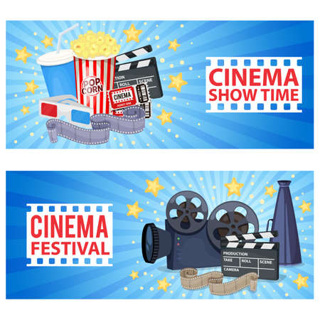 Horizontal banners with cinema icons - movie projector, clapper board, film reel, popcorn, tickets and 3D glasses. Vector