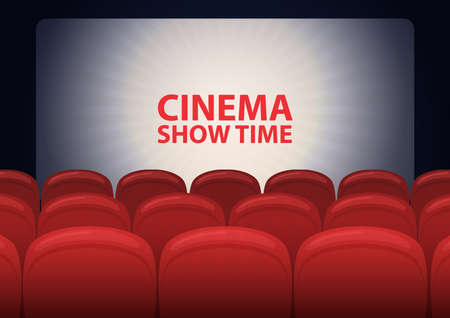 Empty cinema hall, cinema screen and row of red sits. Vector
