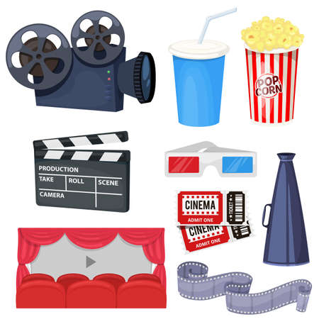Cinema icons set with movie projector, clapper board, film reel, popcorn, cola, tickets, megaphone and 3D glasses. Vector