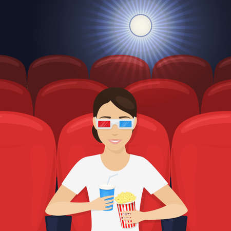 Young smiling woman in 3d glasses with popcorn and plastic cup watching film in cinema alone. Vector Çizim