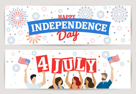 Set of horizontal banners of American Independence Day 4th of July. Vector