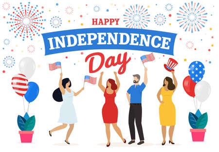 People celebrate American Independence Day 4th of July. Vector
