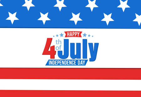 American Independence Day, festive banner with american flag, 4th of July. Vector Illustration