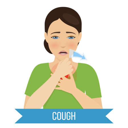 Cough - symptom of cold and flu. Vector
