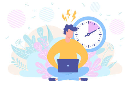 Business concept of freelancer with a laptop, time management and deadline, time is running out. Vector Illustration