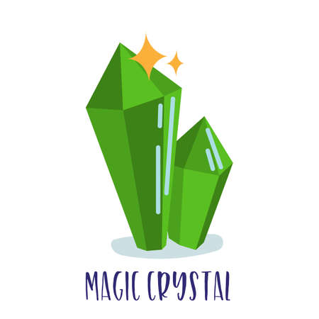 Magic witchcraft element - Green magic crystal. Vector