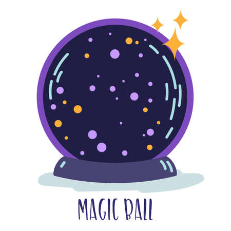 Magic witchcraft element - Magic ball with sparkles. Vector Vettoriali