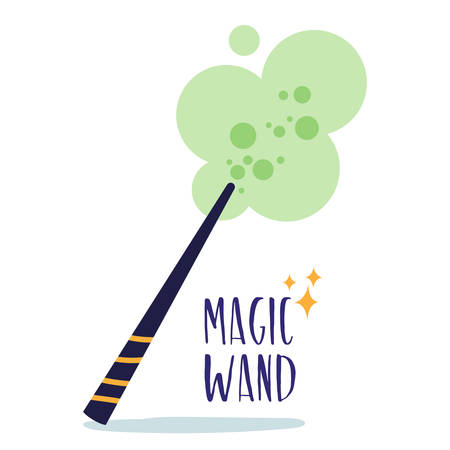 Magic witchcraft element - Magic wand, super power. Vector Ilustracja