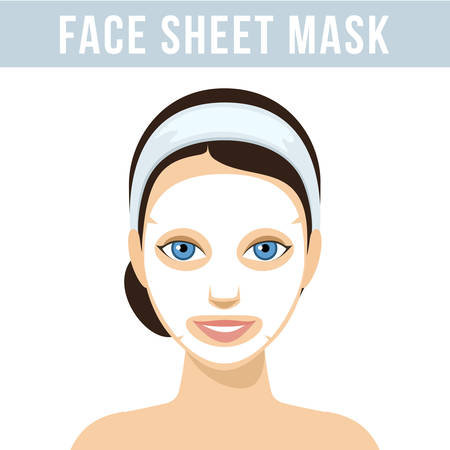 Girl with face sheet mask. Facial mask with serum, skincare product. Vector Vettoriali