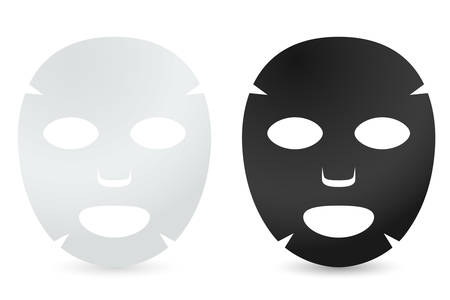 White and black face sheet masks. Facial masks with serum, skincare product, Vector Vetores