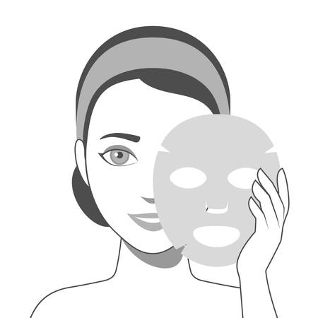 Girl puts on face sheet mask. Facial mask with serum, skincare product. Vector
