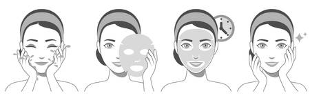 Procedure of applying face sheet mask. Facial mask with serum, skincare product. Vector