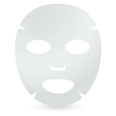 Face sheet mask. Facial mask with serum, skincare product. Vector  イラスト・ベクター素材
