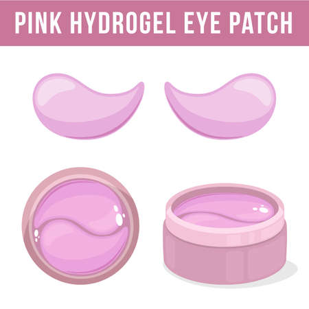 Pink hydrogel eye patches. Cosmetic collagen eye patches. Pot with eye patches for beauty and skin care. Vector