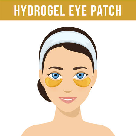 Golden hydrogel eye patches. Cosmetic collagen eye patches. Eye patches for beauty and skin care. Vector Ilustração