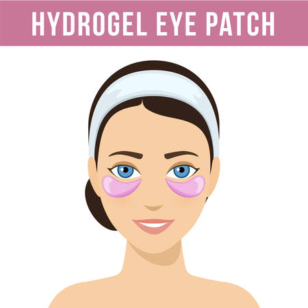 Pink hydrogel eye patches. Cosmetic collagen eye patches. Eye patches for beauty and skin care. Vector