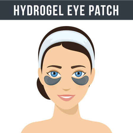 Black hydrogel eye patches. Cosmetic collagen eye patches. Eye patches for beauty and skin care. Vector