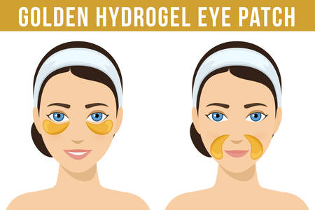 Golden hydrogel eye patches. Cosmetic collagen eye patches against facial wrinkles. Eye patches for beauty and skin care. Vector