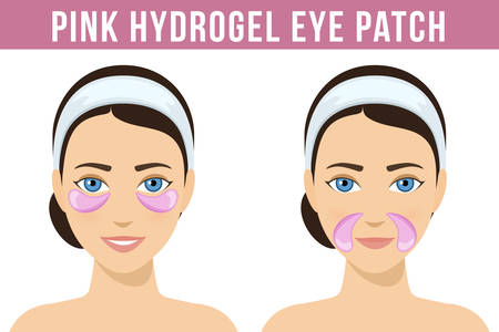 Pink hydrogel eye patches. Cosmetic collagen eye patches against facial wrinkles. Eye patches for beauty and skin care. Vector