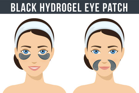 Black hydrogel eye patches. Cosmetic collagen eye patches against facial wrinkles. Eye patches for beauty and skin care. Vector Ilustração