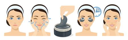 Process of applying and using hydrogel eye patches. Cosmetic collagen eye patches. Black eye patches for beauty and skin care. Vector