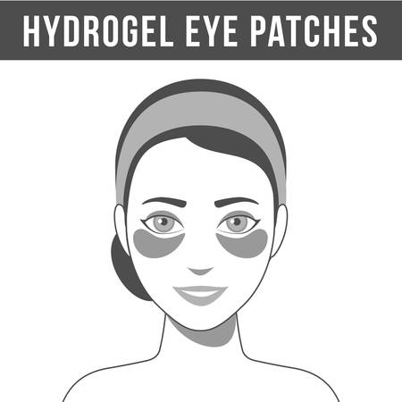 Black and white illustration of hydrogel eye patches. Cosmetic collagen eye patches. Eye patches for beauty and skin care. Vector
