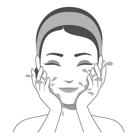 Girl washing face with water. Skin cleansing, beauty treatments, skin washing. Black and white illustration of cosmetic and skin care procedure. Vector